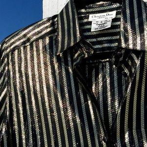 Vintage Christian Dior Button Down (Metal thread)